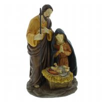 Traditional Hand Painted Resin Nativity Figurine Joseph, Mary & Jesus